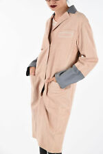 DROME women Jackets Sz S Pink Grey Suede Leather Single Breasted Duster Coat ...