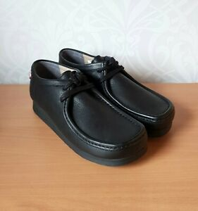 Clarks STINSON LO mens black leather laced shoes UK 7 EUR 41 BNIB wallabees