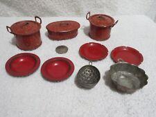 vintage children's toy pots & pans, plates pudding jello molds lot B