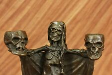 Haloween Decoration Skull Skeleton Gothic Candle Holder 100% Bronze Sculpture