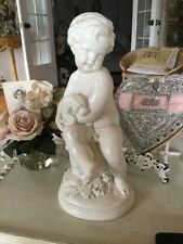 Vtg style Cherub Putti Statue Valentine Day with dog reproduction angel