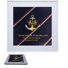 Royal Navy Premium Drinks Mug Coaster Crown and Anchor Badge on Royal Navy Tie