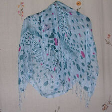 Aqua & Teal, Multi-Color Abstract Print, Silk Oblong Scarf / Wrap