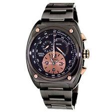Seiko SNL071 Men's Kinetic Chronograph Black Ion Plated Steel Quartz Watch