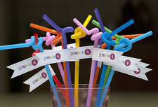 KIDS PARTY BUNTING STRAWS RAINBOW PERSONALISED BIRTHDAY CAKE PICKS FLAGS ANY AGE