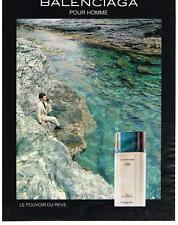 PUBLICITE ADVERTISING   1991   BALENCIAGA    PARFUM POUR HOMME