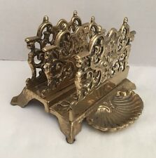 Vtg Solid Brass Letter Holder & Shell Shaped Paper Clip Tray Art Nouveau Ornate