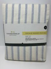 Vintage Washed Percale Sheet Set Size Twin 100% Cotton 3 Piece Set Blue Stripes