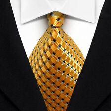 ST1001 Gold Yellow Stripes 100% New Silk WOVEN JACQUARD Men's Tie Necktie
