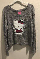 Hello Kitty Juniors Heathered Marbled Sequin Sweater Grey Black White Sz XLarge