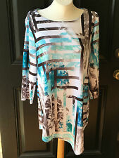 New $89 Chico's Zenergy Helena Floral Grid Tunic Top Shirt Size 3 = XL 16 18 NWT