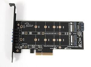 Rivo Dual M.2 SATA III & M2 NVME to PCIe 3.0 X4 adapter card