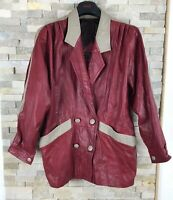 Masouras Ladies Sise 16 Real Leather True Vintage Red 70s Jacket