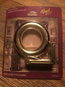 Kirsch Drapery Curtains Scarf Rings Polished Brass Sealed Package MADE IN USA