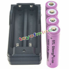 4xGTL 18650 4.2V 9900mAh Rechargeable Lithium Battery Pink + Charger