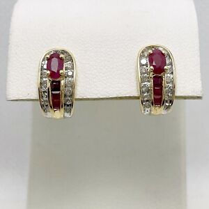 2/3ctw Natural Ruby Diamond 14k Yellow Gold Earrings (9408)