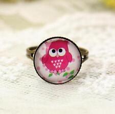 Amazing Pink Owl Ring Vintage Retro Adjustable Bronze Glass Gem Ring Jewelry