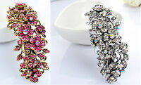 Metal Hair Barrette Clip Silver/Gold Rose Crystal Diamante Rhinestone Hair Clip
