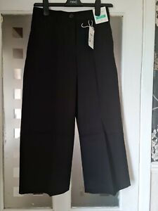 JOULES COMPTON SOFT WIDE LEG CROPPED CHINOS. BNWT. COLOUR. BLACK. SIZE. UK. 8