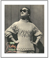 Chunky Fair Isle Lady's Sweater 50's Knitting Pattern