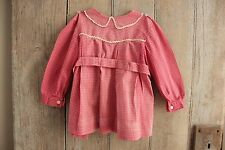 Baby Dress  Vintage French red check clothing clothes c 1930