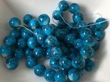 1 Strang Glasperlen 10 mm Blau Gemustert Glas Perlen Schmuck Basteln Diy
