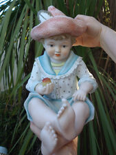1o2 LG Vintage Bisque Porcelain Baby Piano figurine boy Doll German handpainted