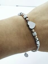 WOMEN'S STAINLESS STEEL HEART JEWELLERY  BRACELET SILVER/GOLD