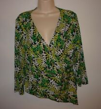 Mix It Green White Floral Faux Wrap Knit Top Size XL 3/4 Sleeve Stretch