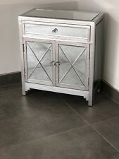 Silver Metal Embossed Mirrored Sideboard Cabinet Chest of Drawers
