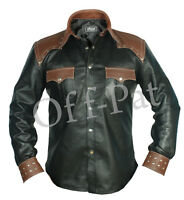 REAL LEATHER Mens Long Sleeve Black Cowboy Western Style Shirt BLUF  Most Sizes