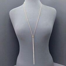 Elegant Long Dainty Gold Chain Clear Rhinestone Designer Inspired Necklace