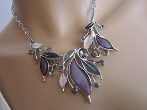 Damen Collier Hals Kette kurz Modekette Modeschmuck Silber Blumen Blätter c 76