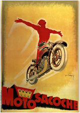 VINTAGE MOTORCYCLE POSTER - MOTO SACOCHE by Joe Bridge 27.5x39.5 Art Print