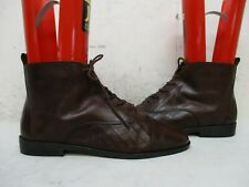Bonjour Brown Leather Lace Up Ankle Boots Womens Size 8.5