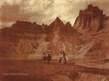 Vintage EDWARD CURTIS American Indian Bad Lands Sioux GOLDTONE Photo Art 12x16