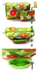 Clinique Cosmetic Toiletries floral Bag pouch set Zippered canvas Pouches New