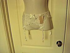 Cabernet White lace Garter Belt and stocking set Size Medium