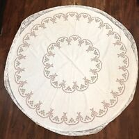 VTG Round Embroidered Red & White Cross Stitch Christmas Tablecloth Lace Trim 5""