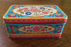 Vintage PA Dutch Floral Metal Decorative Box Pink Blue Red Flowers Small