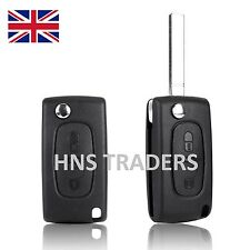 NEW For PEUGEOT KEY FOB FLIP 2 BUTTON REMOTE CASE NO BATTERY  + LOGO