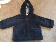 F&F Fleece Star Lined Fluffy Baby Boys First Coat Jacket Grey 0-3 Months