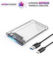 """Boîtier de disque dur externe USB3.1 Type 1 C-SATA III/SSD 2,5 """" 2TB transparent"""