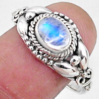 925 Silver 1.53cts Natural Rainbow Moonstone Oval Solitaire Ring Size 8.5 R64879