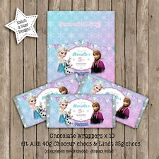 FROZEN ANNA ELSA OLAF BIRTHDAY PERSONALISED CHOCOLATE WRAPPERS X 10