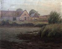 Carl Petersen Bauernhof am Wasser mit Schilf Antik 34 x 42 cm Dänemark