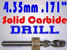 ".171"" 4.35mm  -Solid Carbide Drill Bit - 1/8"" Shank -Sharp! CNC Hobby Model -lu"