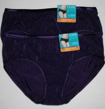 2 Vanity Fair Nylon Hipster Brief Panty Set Illumination 18107 Dark Purple 7 L