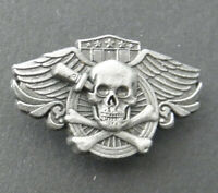 Skull Death Wings Biker Special Forces Gold Colored Hat Jacket Lapel Pin 2 inch