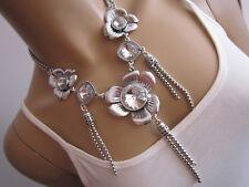 STRASS Collier Damen Hals Kette kurz Modekette Silber Klar Statement Blogger C31